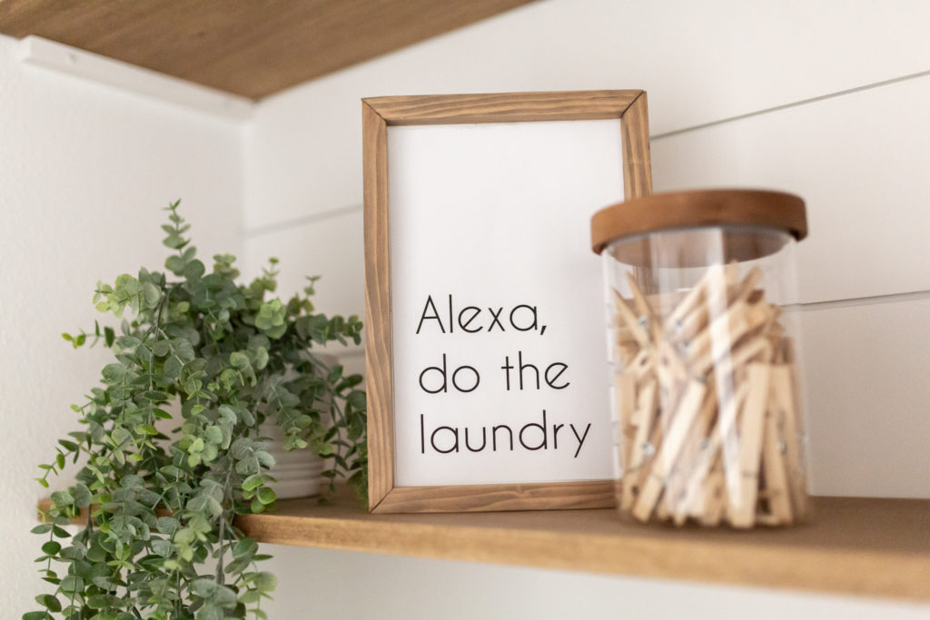Laundry room makeover - Alexa, do the laundry! I wish. Quick DIY sign made with scrap wood.