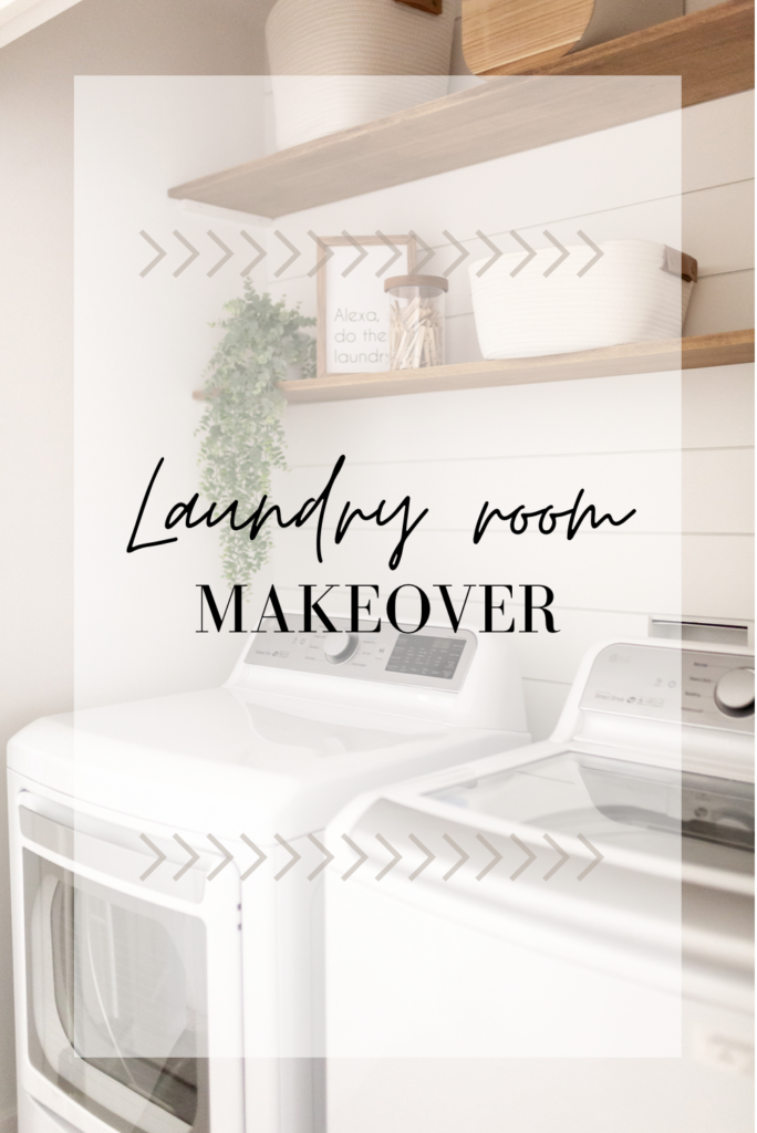 BarberellaHome does a laundry room makeover with Shiplap, poplar wood shelves, and trending storage baskets