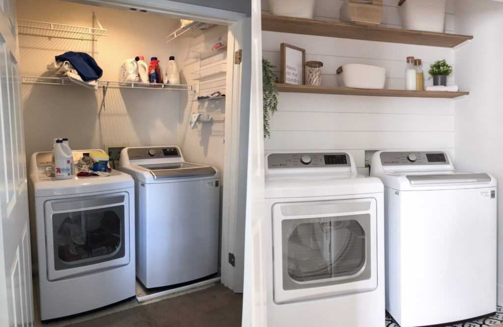 Laundry Room makeover - Before and after of Laundry Room update.
