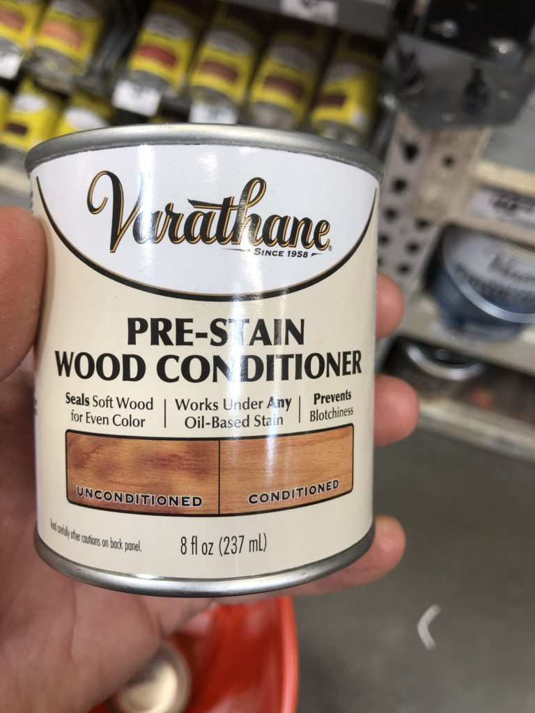 My favorite Pre-stain wood conditioner by Verathane from home depot. A little goes a long way.