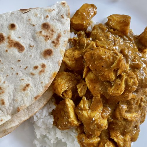 Crockpot Butter Curry with Basmati Rice & Naan.