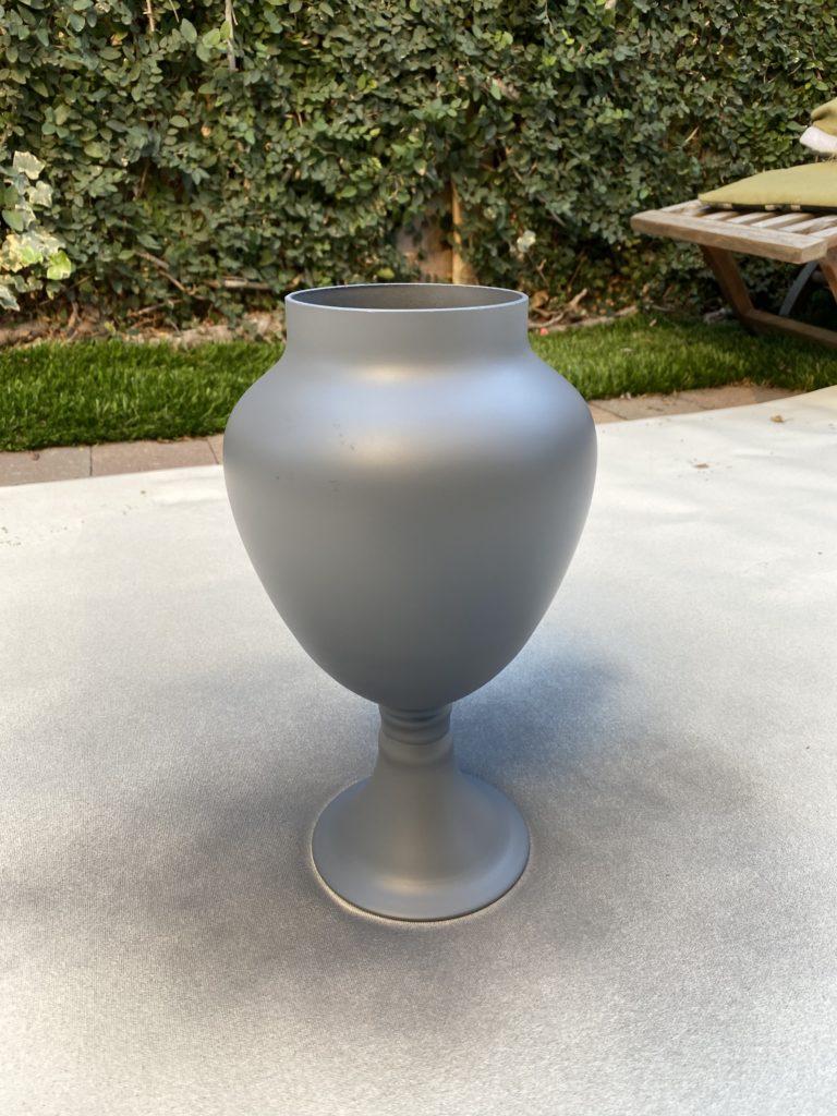 Sprayed Glass Apothecary jar with Rustoleum Grey primer