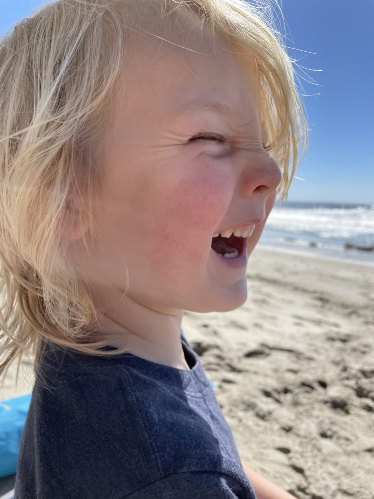 The littles goofing around on the beach