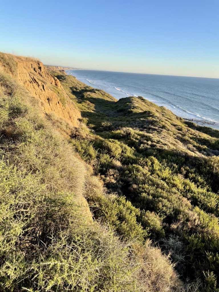 San Onofre Bluffs Campground - sunset view at the top of beach trail #3 looking south bound