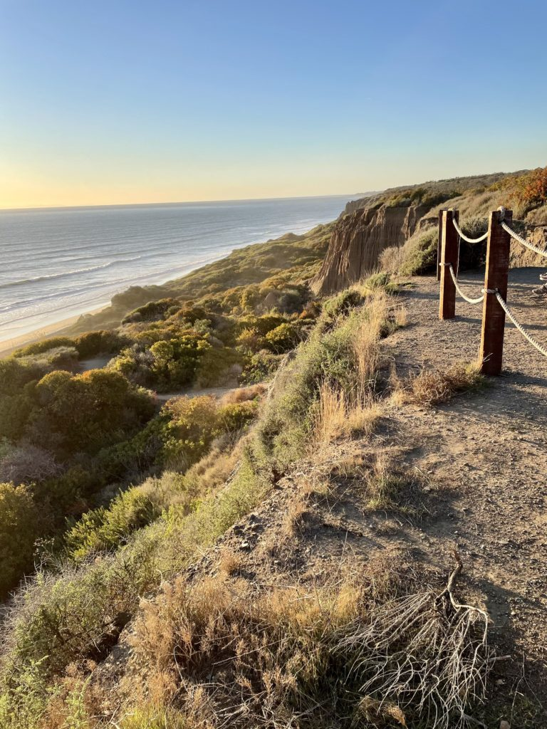 San Onofre Bluffs Campground - sunset view at the top of beach trail #3 looking northbound