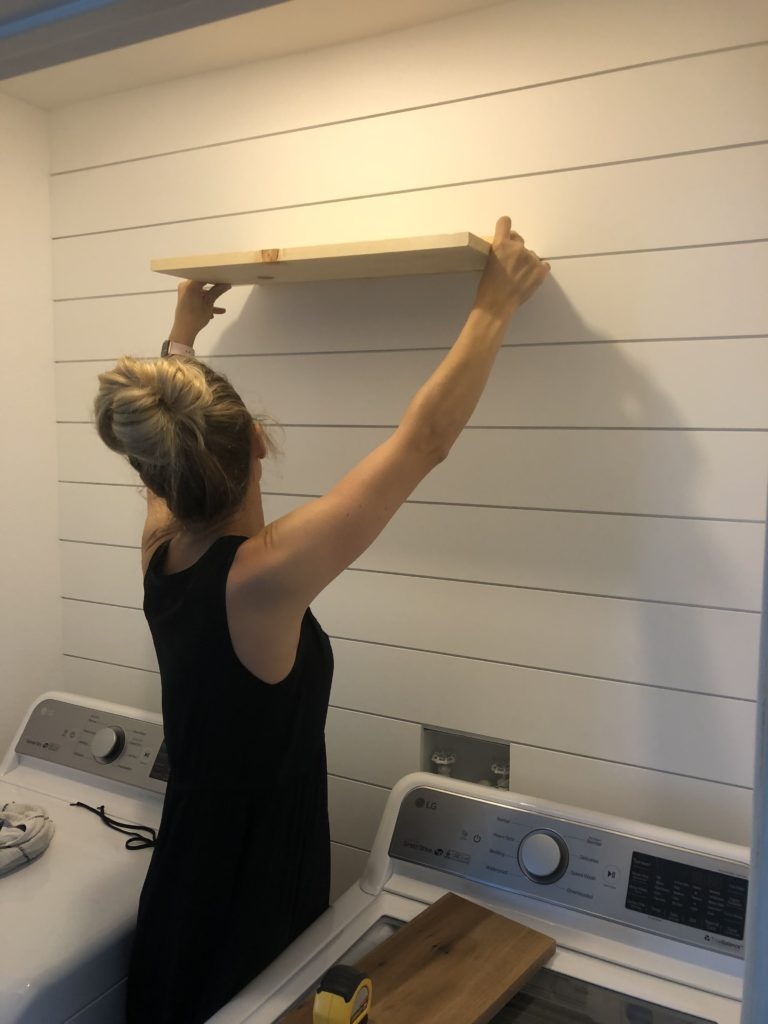 Trying to visualize width of shelves for the laundry room makeover.