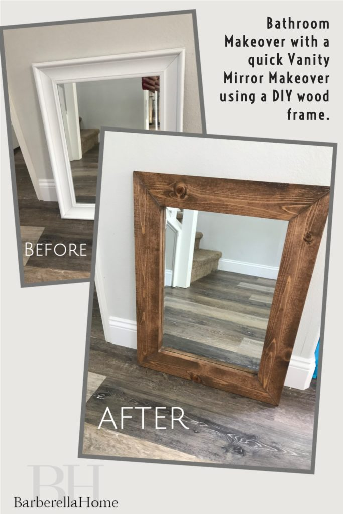 Bathroom makeover with a quick Vanity mirror makeover using a DIY wood frame.