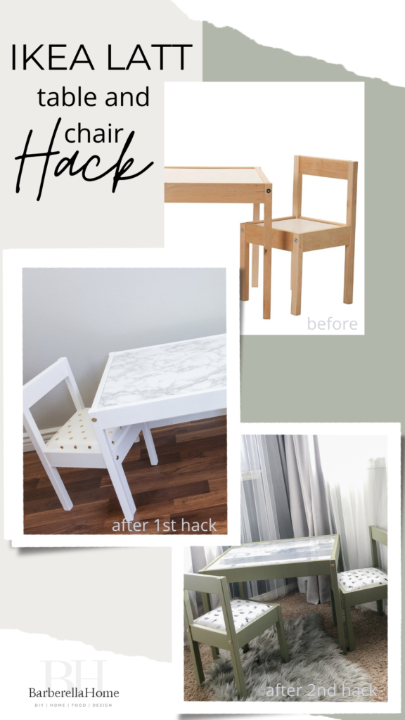 Ikea LATT table and chair hack before and after 1st and 2nd hack. One for a boy and the other for a girl.