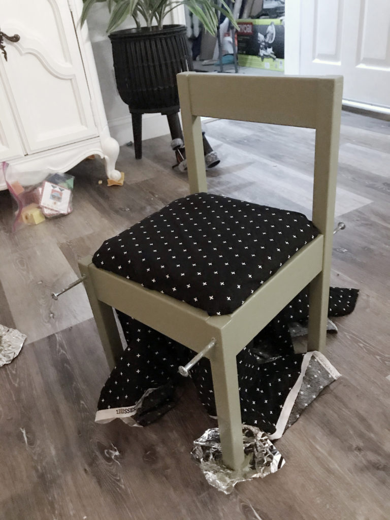 Ikea LATT chair hack with 'Olive Grove' by BM paint and white 'black and white polka dot' fabric cushions.