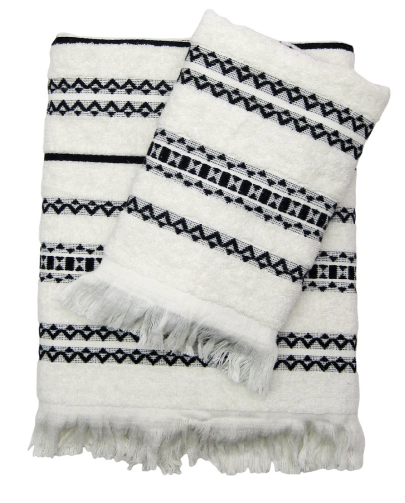 White and black patterned towel from walmart.