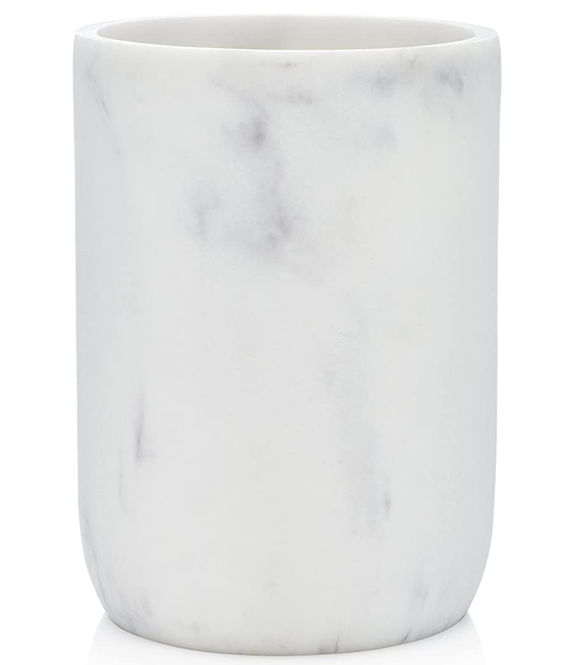 white and grey Marble toothbrush holder from amazon