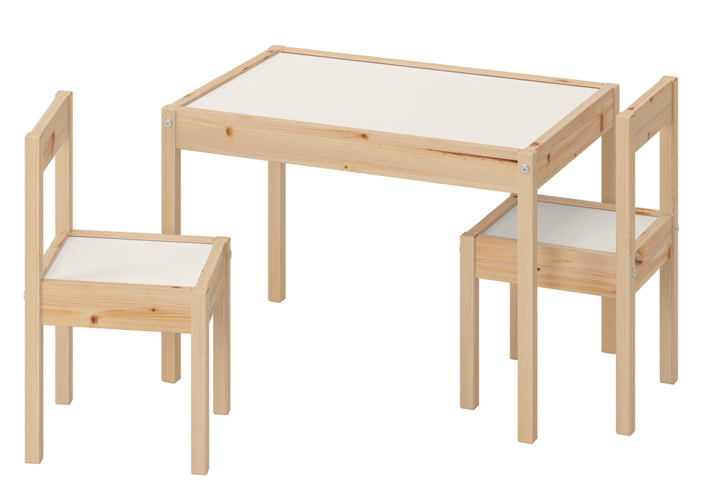 Oringial Ikea LATT table and chair in raw pine wood