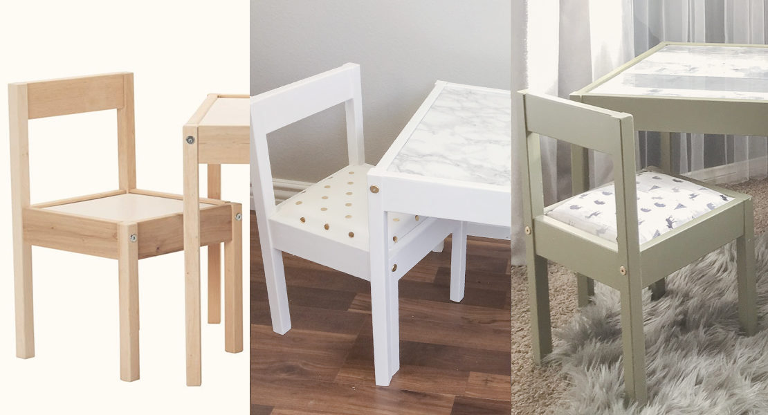 Ikea LATT table and chair hack before and after 1st and 2nd hack. One for girls and the other for boys.