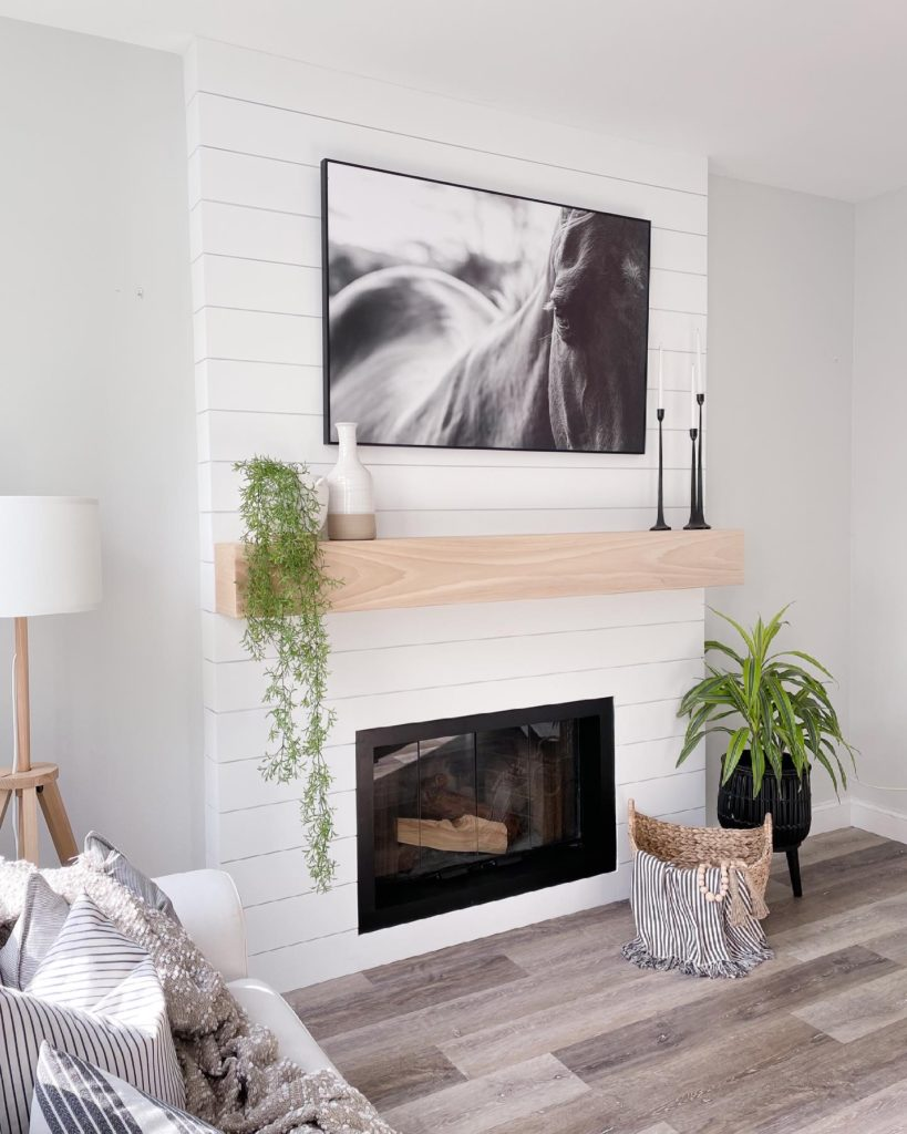Left side view of the fireplace and mantle remodel