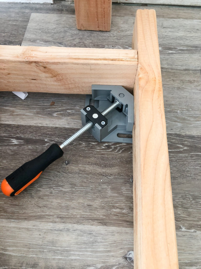 90 degree corner clamp works great to get precise 90 degree angles.