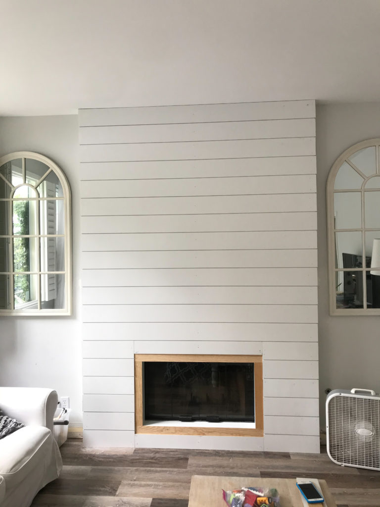 Shiplap Complete on the fireplace build. Looks good!